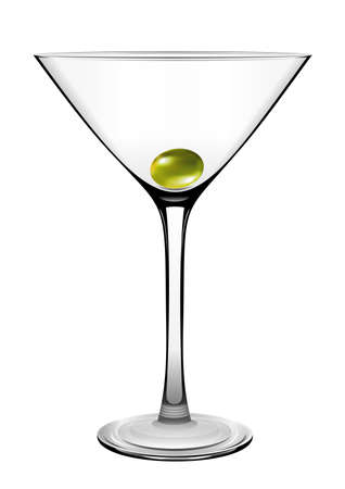 shaken: Martini glass with olive. Vector