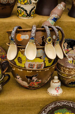 holy jug: Ceramic dishes tableware and jugs sold in market et in Kiev Ukraine