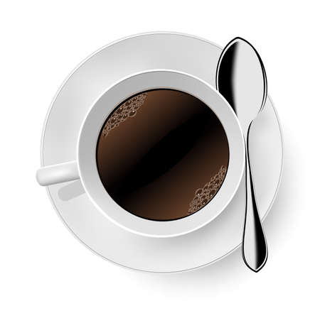 Cup of coffee on white.