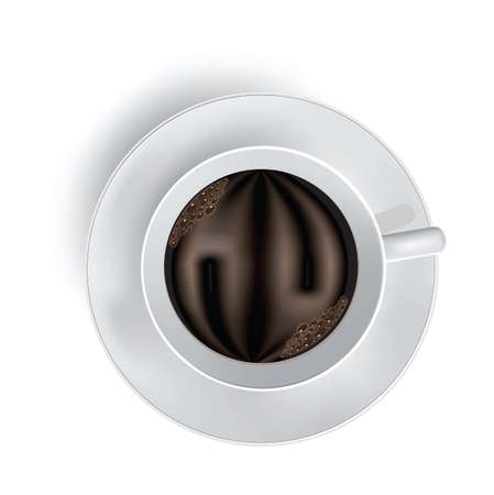 Cup of coffee with foam on white. Illustration