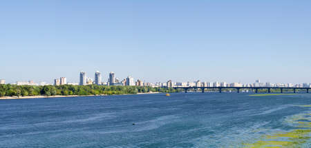 Kiev summer landscape- Dnieper river and bridge in sunny day