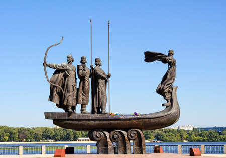 founders: Monument to the mythical founders of Kiev on the Dnieper river Stock Photo