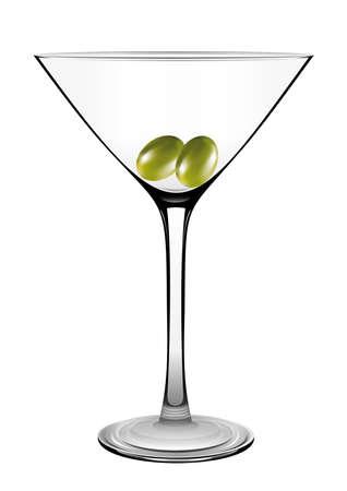 Vetro del Martini con oliva isolato su bianco. Vettore
