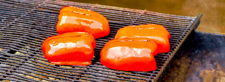 Roasted pepper with salt. Food top view Stock Photo