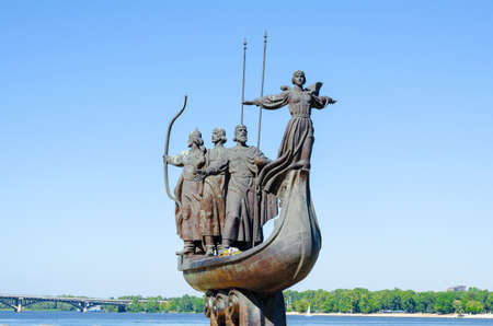 dniper: Memorial to the Legendary Founders of Kyiv. The memorial depicts the three brothers Kyi, Shchek, Khoryv and their sister Lybid