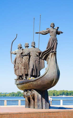 founders: Memorial to the Legendary Founders of Kyiv. The memorial depicts the three brothers Kyi, Shchek, Khoryv and their sister Lybid