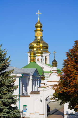 Orthodox Christian monastery, Pechersk Lavra in Kiev on green hills of Pechersk. Ukraine