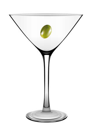 shaken: Martini glass with olive isolated on white. Vector Illustration