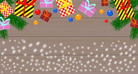 Gift boxes and christmas balls. Illustration