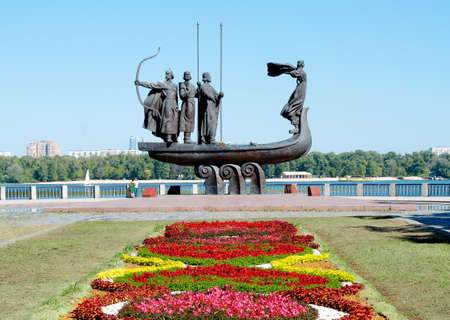 founders: Monument to the mythical founders of Kiev on the Dnieper river. Ukraine