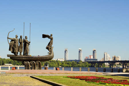 Popular monument to the founders of Kiev on Dnieper river bank
