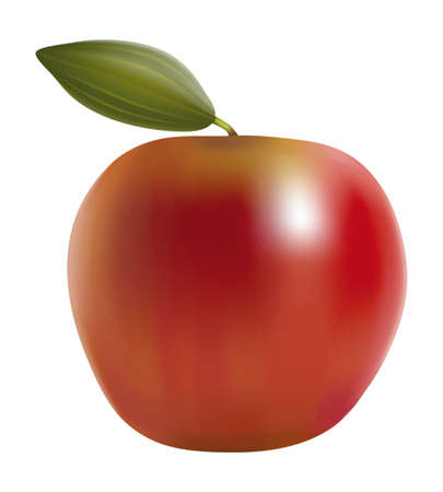 Red Apples with Green Leave. Vector