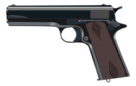 Powerful pistol, gun, handgun, vector illustration Illustration