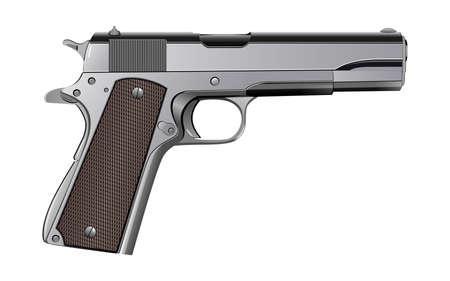Colt M1911 pistolet isolé sur blanc vecteur Banque d'images - 73958432
