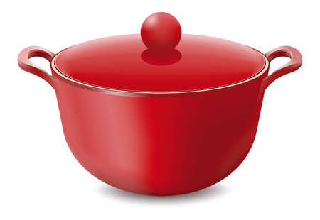 Saucepan Red isolated on white Vector illustration