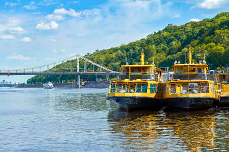 navigable: Tourist boats on the river quay in Kiev on a tour of the Dnieper, Kiev, Ukraine