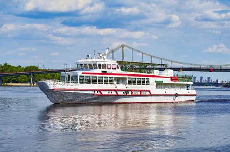 navigable: Tourist boat on the river quay in Kiev on a tour of the Dnieper, Kiev, Ukraine Stock Photo