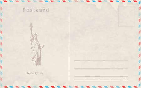 Vintage postcard. Vector design. Capitals of the world. New York