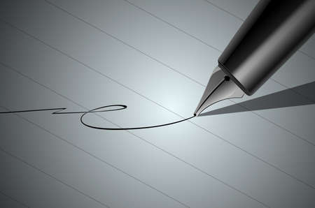 signing papers: Vector Close up of a pen and signature