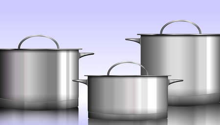 aluminum: Group of stainless steel kitchenware isolated on white illustration