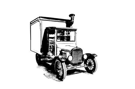 drawing of vintage truck stylized as engraving Stock Photo