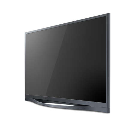 Realistic TV screen. Modern stylish lcd panel, led type. Large computer monitor display.
