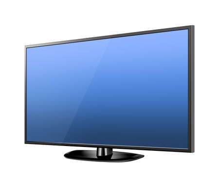 Realistic TV screen. Modern stylish lcd panel, led type. Large computer monitor display mockup Illustration