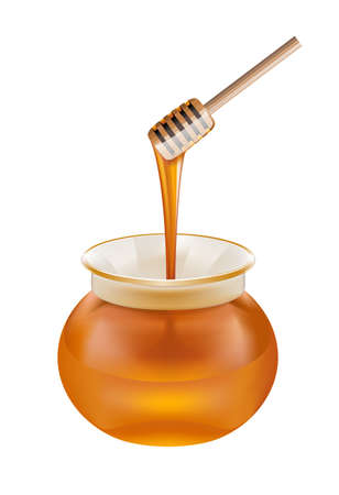 Glass jar of honey with wooden drizzler isolated on white background Illustration