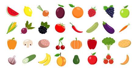 Set of fruits and vegetables Illustration