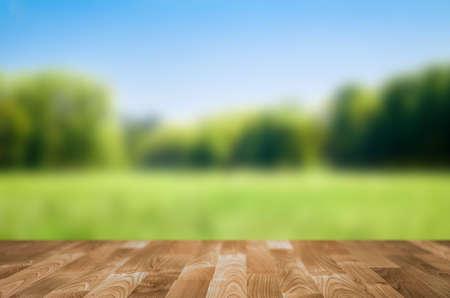 Empty wooden table with garden bokeh Stock Photo