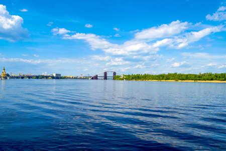 River horizon reflection landscape