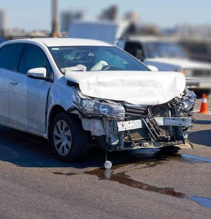 Front car crash accident