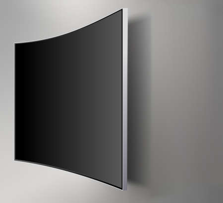 Black LED tv television screen blank on walll background