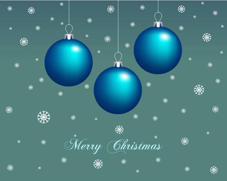 Christmas card with balls decorations. Illustration