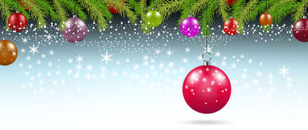 Christmas background with branches and balls with decorations illustration Stock Photo