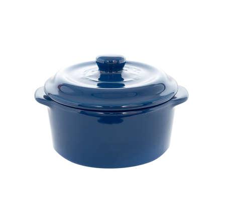 Enameled blue cast iron on a white background Stock Photo