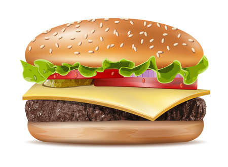 Vector Realistic Hamburger Classic Burger American Cheeseburger with Lettuce Tomato Onion Cheese Beef and Sauce Close up isolated on white Background. Fast Food