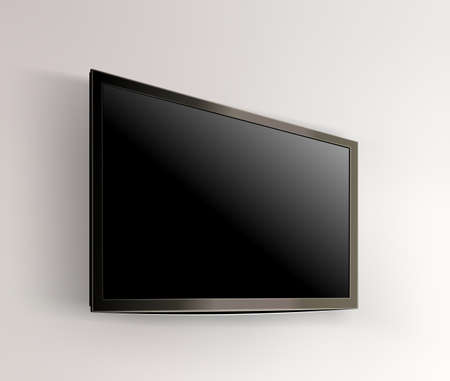 Black LED tv television screen blank on wall background