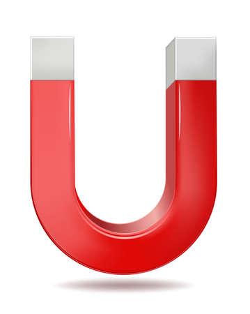 Vector illustration of red horseshoe magnet