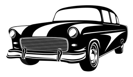 Retro muscle car vector illustration. Vintage car. Old mobile isolated on white