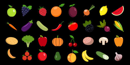 Set of fruits and vegetables Vector icon