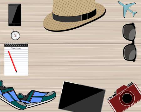 Flat lay traveler accessories on background with blank space for text Vettoriali