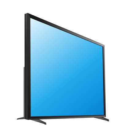 Black LED tv television screen blank on white background vector