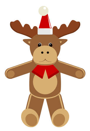Christmas animal. Deer. Cartoon vector illustration.