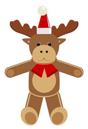 Christmas animal. Deer. Cartoon vector illustration.
