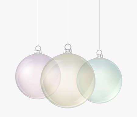 Transparent realistic christmas balls. Isolated. Vector illustration Stock Illustratie