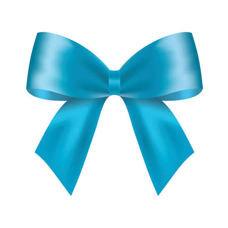Decorative blue bow. Vector bow for page decor isolated on white