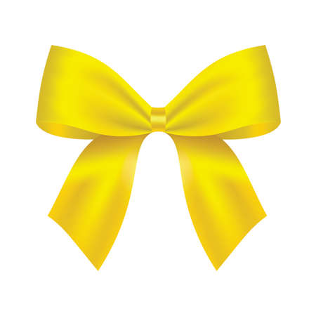 Decorative yellow bow. Vector bow for page decor isolated on white