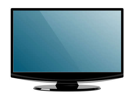 Computer display with blank screen. Front view. Isolated on white background vector. Illustration