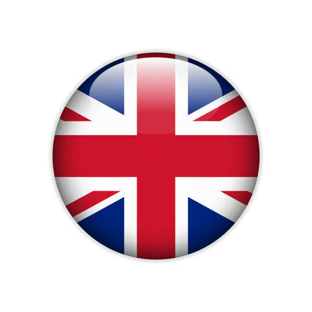 Flag of Great Britain on a button. Vector Vector Illustration